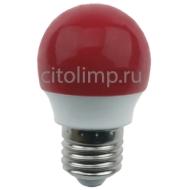 Ecola globe LED color 2,6W G45 220V E27 Red шар Красный матовая колба 75x45
