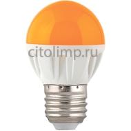 Ecola globe LED color 4,0W G45 220V E27 Yellow шар Желтый матовая колба 77x45