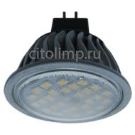 Ecola MR16 LED 7,0W 220V GU5.3 6000K прозрачное стекло (ребристый алюм. радиатор) 51x50