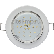 Ecola Light GX53-H6 светильник металл. встраиваемый плоский белый 101x16